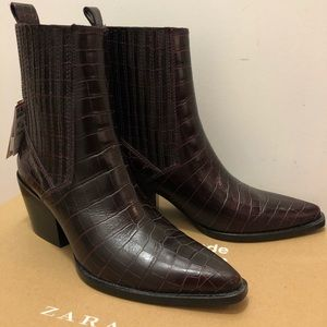 ZARA LEATHER ANIMAL PRINT ANKLE BOOTS